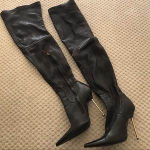 Thigh high real leather stiletto brown  boots